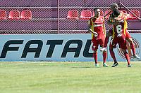 OSASCO, SP, 02 DE FEVEREIRO DE 2014 -  ESPORTES -  FUTEBOL - CAMPEONATO PAULISTA 2014 - AUDAX - SP X PORTUGUESA - SP - Velicka (C) comemora com Andre (6)   Durante partida contra a equipe Portuguesa, válida pela quinta rodada do Grupo C do Campeonato Paulista (Série A), no estádio Prefeito José Liberati, neste domingo (02) ás 10hs na cidade de Osasco -SP. FOTOS: Dorival Rosa/Brazil Photo Press).