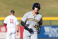 Surprise Saguaros first baseman Will Craig (45), of the Pittsburgh Pirates organization, rounds third base in front of Bobby Dalbec (11) after hitting a home run during an Arizona Fall League game against the Mesa Solar Sox at Sloan Park on November 15, 2018 in Mesa, Arizona. Mesa defeated Surprise 11-10. (Zachary Lucy/Four Seam Images)