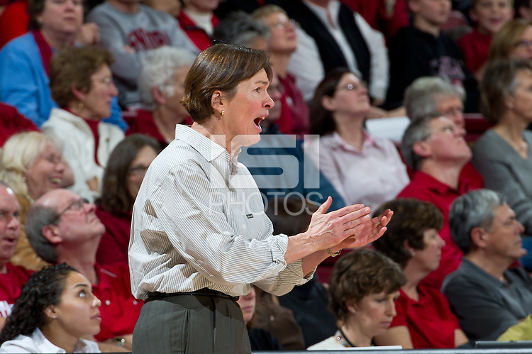STANFORD, CA - January 20, 2011: Stanford Cardinal's Head Coach Tara VanDerveer during Stanford's 64-38 victory over UCLA at Maples Pavilion in Stanford, California.
