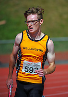 Wellington's Jonty Morrison competes in the youth men's 400m relay final on day three of the 2015 National Track and Field Championships at Newtown Park, Wellington, New Zealand on Sunday, 8 March 2015. Photo: Dave Lintott / lintottphoto.co.nz