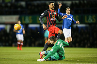 Blackburn Rovers' Dominic Samuel challenging goalkeeper Luke McGee <br /> <br /> Photographer Andrew Kearns/CameraSport<br /> <br /> The EFL Sky Bet League One - Portsmouth v Blackburn Rovers - Tuesday 13th February 2018 - Fratton Park - Portsmouth<br /> <br /> World Copyright &copy; 2018 CameraSport. All rights reserved. 43 Linden Ave. Countesthorpe. Leicester. England. LE8 5PG - Tel: +44 (0) 116 277 4147 - admin@camerasport.com - www.camerasport.com