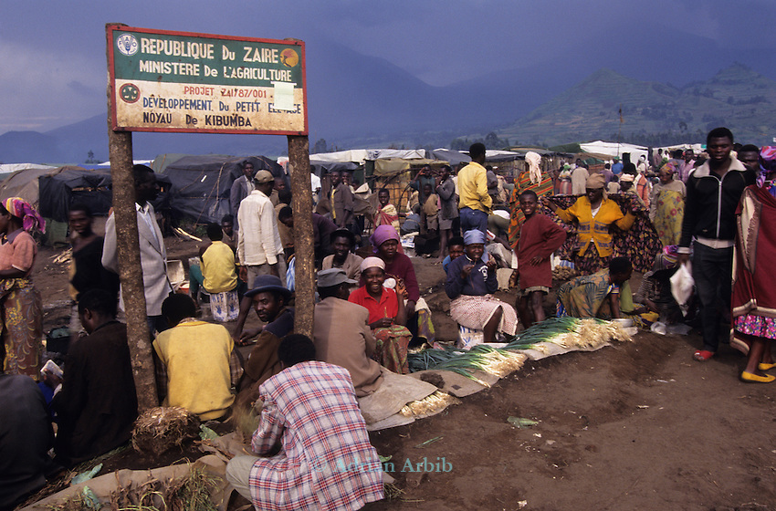 Kibumba  camp in 1995, Goma, Zaire. The immediate area was filled with 100's of thousands of Hutu refugees fleeing from the war in neighbouring Rwanda.