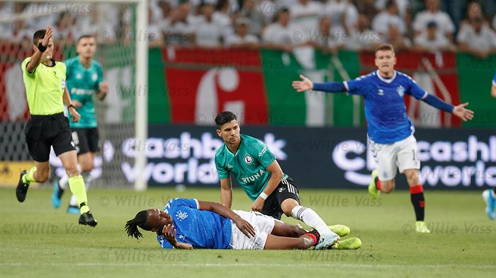 22.08.2019 Legia Warsaw v Rangers: Joe Aribo fouled