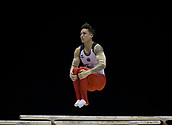 21st March 2018, Arena Birmingham, Birmingham, England; Gymnastics World Cup, day one, mens competition; Marcel Nguyen (GER) on the Parallel Bars during his competition routine
