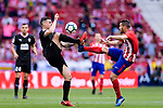 Jorge Koke of Atletico de Madrid (R) trips up with Dani Garcia Carrillo of SD Eibar (L) during the La Liga match between Atletico Madrid and Eibar at Wanda Metropolitano Stadium on May 20, 2018 in Madrid, Spain. Photo by Diego Souto / Power Sport Images