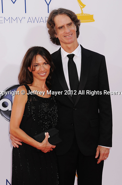 LOS ANGELES, CA - SEPTEMBER 23: Susanna Hoffs and Jay Roach arrive at the 64th Primetime Emmy Awards at Nokia Theatre L.A. Live on September 23, 2012 in Los Angeles, California.