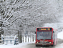 21/01/13..After heavy overnight snow, a bus drives into the Chatsworth House estate, in The Peak District, near Bakewell, Derbyshire. ..All Rights Reserved - F Stop Press.  www.fstoppress.com. Tel: +44 (0)1335 300098.