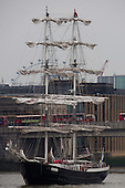 "London, UK. 4 September 2014. Pictured: Tall Ship ""Mercedes"", a 49.9m two-masted square rigged sailing ship from The Netherlands. On the eve of the Royal Greenwich Tall Ships Festival 2014, today, three Tall Ships entered the Pool of London via Tower Bridge."