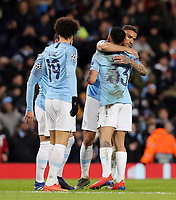 Manchester City's Gabriel Jesus celebrates with team-mate Danilo after scoring his side's seventh goal <br /> <br /> Photographer Rich Linley/CameraSport<br /> <br /> UEFA Champions League Round of 16 Second Leg - Manchester City v FC Schalke 04 - Tuesday 12th March 2019 - The Etihad - Manchester<br />  <br /> World Copyright © 2018 CameraSport. All rights reserved. 43 Linden Ave. Countesthorpe. Leicester. England. LE8 5PG - Tel: +44 (0) 116 277 4147 - admin@camerasport.com - www.camerasport.com