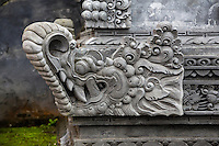 Jatiluwih, Bali, Indonesia.  Temple Decoration, Stone Carving, Luhur Bhujangga Waisnawa Hindu Temple.