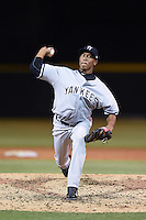 Tampa Yankees pitcher Angel Rincon (45) delivers a pitch during a game against the Lakeland Flying Tigers on April 9, 2015 at Joker Marchant Stadium in Lakeland, Florida.  Tampa defeated Lakeland 2-0.  (Mike Janes/Four Seam Images)