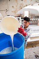 Feeding the calves yogurth. Rancho Santa Clara, Huamantla, Tlaxcala, Mexico