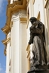 A statue on Loreta in Prague, Czech Republic. The Loreta in Prague is a pilgrimage destination, the cloister and church date back to the early 17th century.