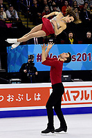 Friday, April 1, 2016: Meagan Duhamel and Eric Radford (CAN) compete in the Pairs Short Program at the International Skating Union World Championship held at TD Garden, in Boston, Massachusetts. Duhamel and Radford placed second in the short program. Eric Canha/CSM