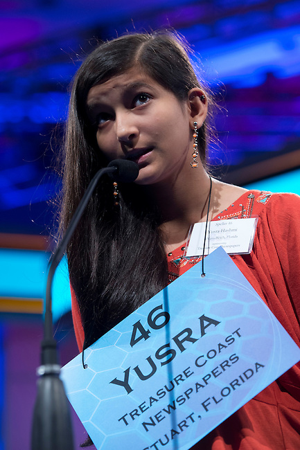 Speller 46 Yusra Hashmi competes in the preliminary rounds of the Scripps National Spelling Bee at the Gaylord National Resort and Convention Center in National Habor, Md., on Wednesday,  May 30, 2012. Photo by Bill Clark