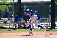 Chicago Cubs third baseman Fidel Mejia (16) starts down the first base line during an Extended Spring Training game against the Los Angeles Angels at Sloan Park on April 14, 2018 in Mesa, Arizona. (Zachary Lucy/Four Seam Images)