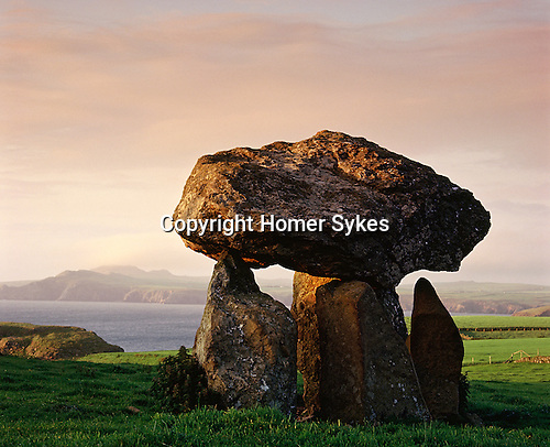Careg Samson. Nr Abercastle, Pembrokshire, Wales. Celtic Britain published by Orion. A Neolithic cromlech at least 5,000 years old, its takes its name from a local Celtic Christian saint St Samson.