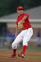 Batavia Muckdogs pitcher David Kington (12) during a game vs. the Auburn Doubledays at Dwyer Stadium in Batavia, New York July 3, 2010.   Auburn defeated Batavia 4-0.  Photo By Mike Janes/Four Seam Images