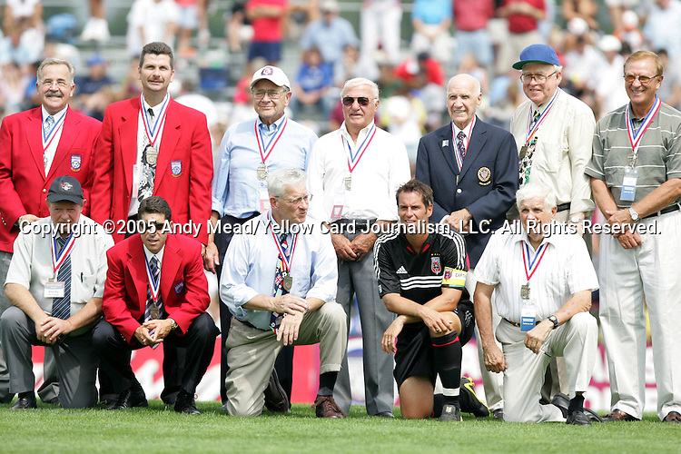 Hall of Famers were honored at halftime on Monday, August 29, 2005, in the Hall of Fame game played after the 2005 National Soccer Hall of Fame Induction Ceremony in Oneonta, New York. Those pictured include (back row) Hank Steinbrecher (left), Michael Windischmann (2nd from left), John Souza (3rd from right), Jerry Yeagley (right), (front row) Tab Ramos (2nd from left), John Harkes (2nd from right), and Harry Keough (right).