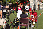 Dwight Tardy, Washington State University running back, does a television interview with Fox Sports Northwest following practice in Pullman, Washington, on August 10, 2008.