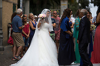 A bride prepares for her wedding at Convento di San Francesco on Saturday, Sept. 19, 2015, in Sorrento, Italy. (Photo by James Brosher)