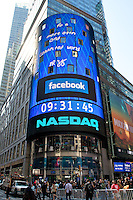 NASDAQ lights up Times Square as Facebook  debuts it's IPO. New York City. May 18, 2012. © mpi44/MediaPunch Inc.