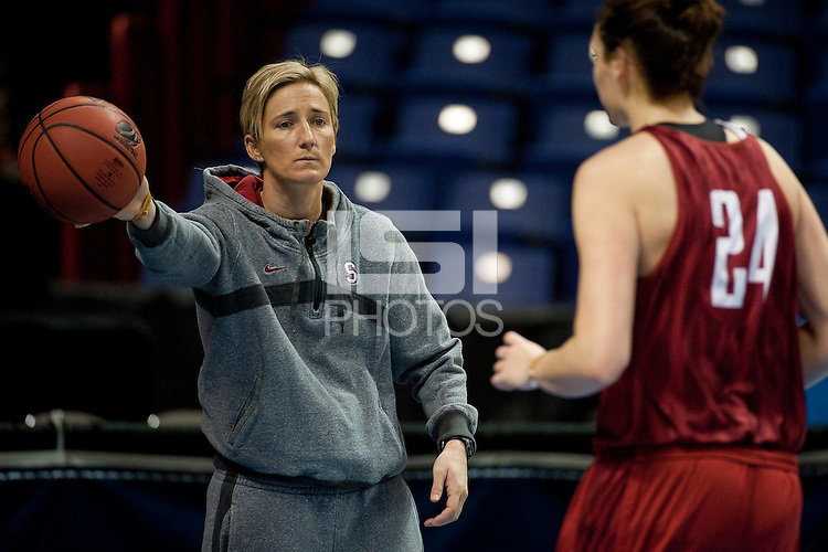 SPOKANE, WA - MARCH 25, 2011:  Assistant Coach Kate Paye at the Stanford Women's Basketball, NCAA West Regionals practice at Spokane Arena on March 25, 2011.