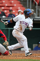 Buffalo Bisons outfielder Raul Reyes #49 during a game against the Pawtucket Red Sox at Coca-Cola Field on April 15, 2012 in Buffalo, New York.  Buffalo defeated Pawtucket 10-9 in ten innings.  (Mike Janes/Four Seam Images)