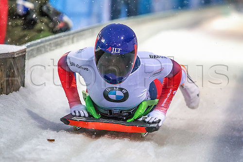 24.2.2017 Berchtesgaden - Konigssee, Germany. Action from the Women's Skeleton Runs 1 and 2, Lizzy YARNOLD GBR at the finish
