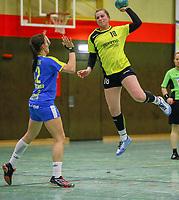 Nadine Eilers (SG WBW) gegen Lucie-Marie Kretschmar (Leipzig) - 10.03.2019: SG Weiterstadt/Braunshardt/Worfelden vs. HC Leipzig, Sporthalle Braunshardt