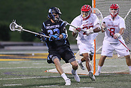 College Park, MD - April 29, 2017: Johns Hopkins Blue Jays Shack Stanwick (32) looks to make a pass during game between John Hopkins and Maryland at  Capital One Field at Maryland Stadium in College Park, MD.  (Photo by Elliott Brown/Media Images International)