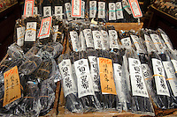 Kombu on sale at Suita Shoten kombu shop, Tsukiji, Tokyo, Japan, July 23, 2009. Suita Shoten sells five kinds of kombu, including top quality ma-kombu from the coast near Hakodate in Hokkaido.
