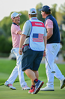 Kevin Kisner (USA) and Phil Mickelson (USA) celebrate their win during round 2 Four-Ball of the 2017 President's Cup, Liberty National Golf Club, Jersey City, New Jersey, USA. 9/29/2017.<br /> Picture: Golffile | Ken Murray<br /> <br /> All photo usage must carry mandatory copyright credit (&copy; Golffile | Ken Murray)