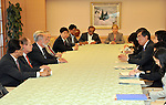 May 25th, 2011, Tokyo, Japan - An International Atomic Energy Agency's nuclear safety review team, led by Britain's Michael Weightman, meets with Japanese Foreign Minister Takeaki Matsumoto at the Foreign Ministry in Tokyo on Wednesday, May 25, 2011. The IAEA team arrived in Japan Tuesday on a mission to investigate the radiation-leaking nuclear power plant in Fukushima, some 200km northeast of Tokyo. The latest information suggested that nuclear fuel had mostly melted in three out of six reactors in the early days after the March 11 earthquake and tsunami. (Photo by Natsuki Sakai/AFLO) [3615] -mis-.