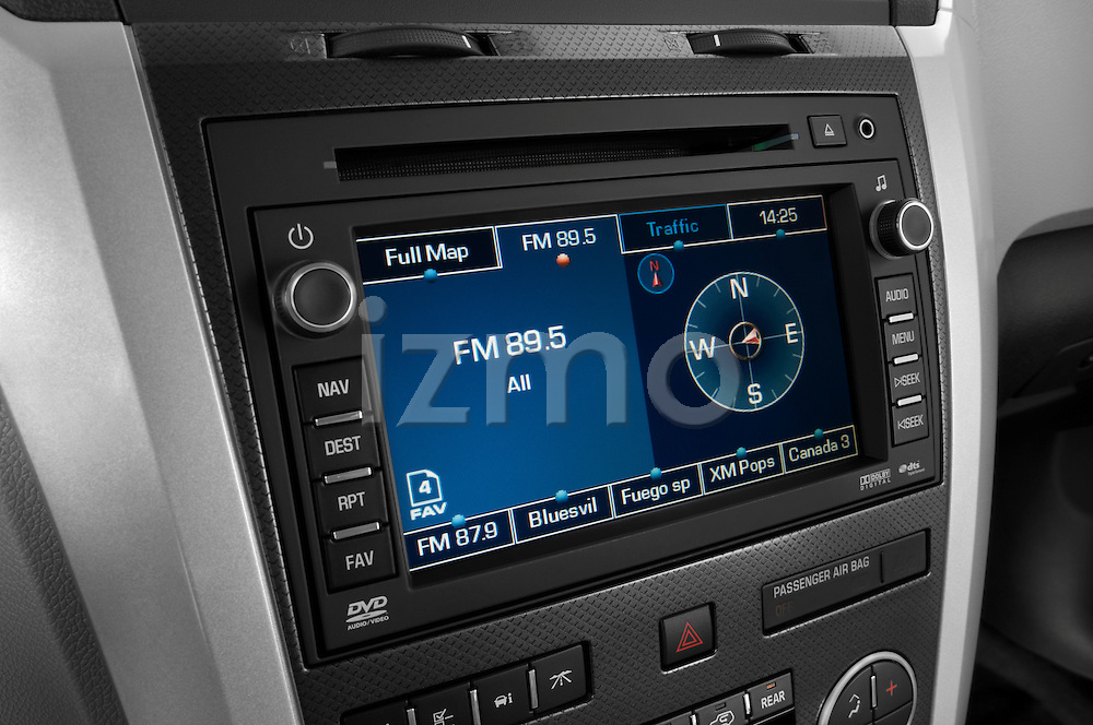 Stereo audio system close up detail view of a 2009 Chevrolet Traverse LTZ