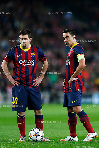 Lionel Messi, Xavi (Barcelona), APRIL 1, 2014 - Football / Soccer : UEFA Champions League Round of 8, 1st leg match between FC Barcelona 1-1 Atletico de Madrid at Camp Nou stadium in Barcelona, Spain. (Photo by D.Nakashima/AFLO)