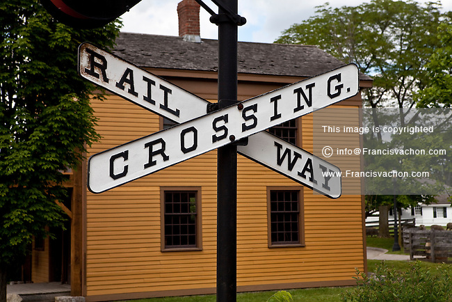 A vintage railroad crossing sign is seen in Dearborn' Greenfield Village in Dearborn, near Detroit (Mi) Saturday June 8, 2013. Founded by Henry Ford, the Henry Ford Museum and Greenfield Village (more formally as the Edison Institute) preserves items of historical significance.