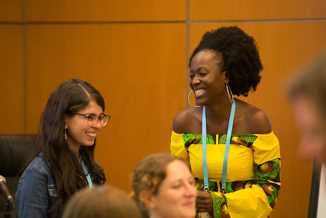27 June, 2018, Kuala Lumpur, Malaysia : Lusungu Kalanga of Malawi and Gabriela Munoz of Guatemala at the Learning from Failure session on the third day at the Girls Not Brides Global Meeting 2018 at the Kuala Lumpur Convention Centre. Picture by Graham Crouch/Girls Not Brides
