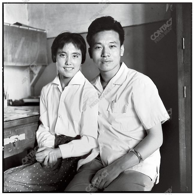 "Li in his office at the newspaper with his future wife, Zu Yingxia, an editor and member of Li's rebel group the ""Red Youth Fighting Team"" (photographed with a self-timer). 20 August 1967"