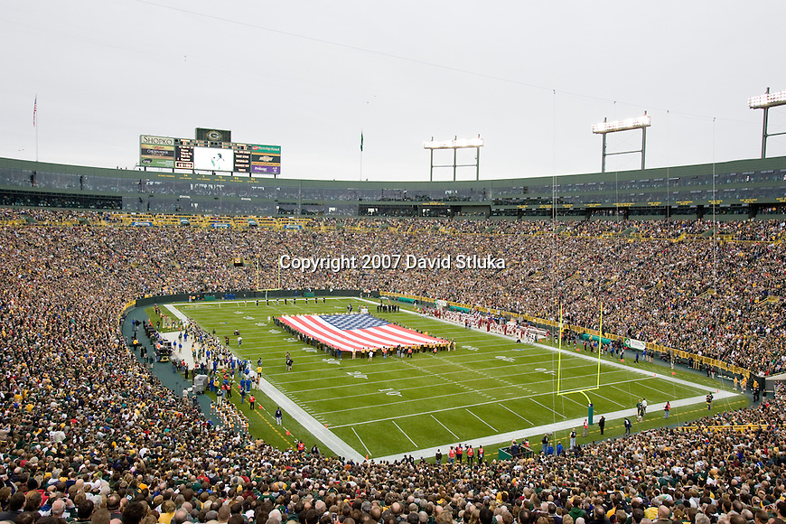 A general view of Lambeau Field during the National Anthem prior to the Green Bay Packers game during an NFL football game against the Washington Redskins on October 14, 2007 in Green Bay, Wisconsin. The Packers beat the Redskins 17-14. (Photo by David Stluka)