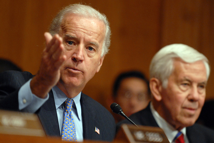 Chairman Joe Biden, D-Del., makes an opening statement at a Senate Foreign Relations Committee hearing on the administration's plan for Iraq, featuring testimony by Secretary of State Condolezza Rice.  Sen. Dick Lugar, R-ind., appears at right.