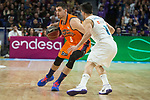 Real Madrid Facundo Campazzo and Valencia Basket Alberto Abalde during Liga Endesa match between Real Madrid and Valencia Basket at Wizink Center in Madrid , Spain. March 25, 2018. (ALTERPHOTOS/Borja B.Hojas)