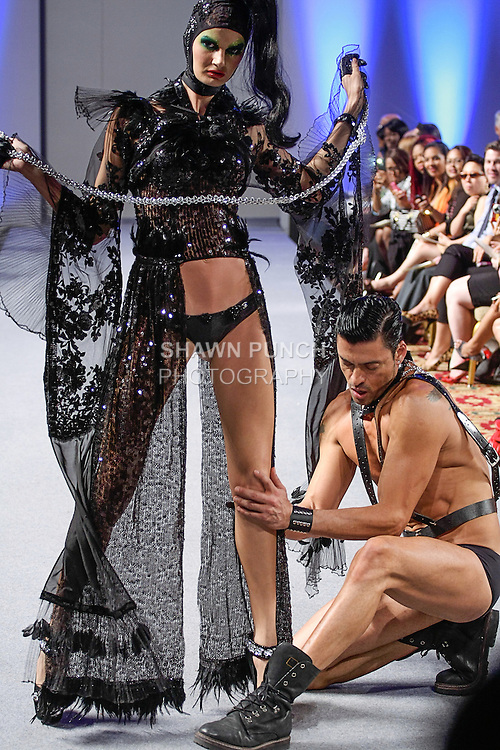 Models walk runway in outfits from the Catalin Botezatu Spring Summer 2013 Domina collection, during Couture Fashion Week New York Spring 2013, on September 17, 2012.