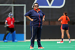 19 September 2014: Virginia head coach Michele Madison. The Duke University Blue Devils hosted the University of Virginia Cavaliers at Jack Katz Stadium in Durham, North Carolina in a 2014 NCAA Division I Field Hockey match. Virginia won the game 2-1.