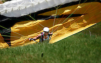 The Extremesport Week, Ekstremsportveko, is the worlds largest gathering of adrenalin junkies. In the small town of Voss enthusiasts in a varitety of extreme sports come togheter every summer to compete and play. It is also a where many get to try some of these sports for the first time, in this case paragliding. Norway..©Fredrik Naumann/Felix Features.