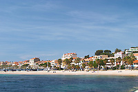 The beach with palm trees and houses along the coast in Bandol. Bandol Cote d'Azur Var France