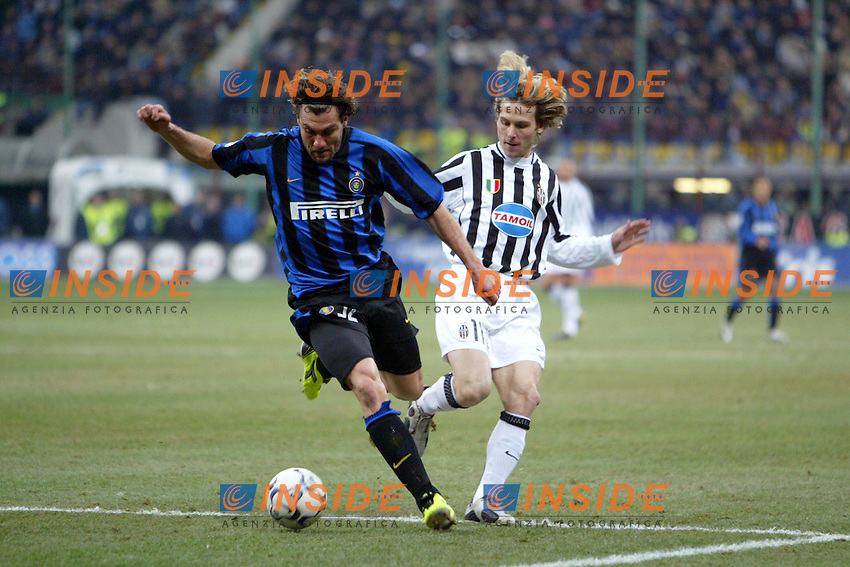 Milano 12/2/2004 Coppa Italia - Italy Cup - Semifinale <br /> Inter - Juventus 2-2 (6-7 after penalties) <br /> Christian Vieri (Inter) and Pavel Nedved (Juventus)<br /> Photo Andrea Staccioli Insidefoto