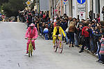 Pink and Yellow jerseys pass through Nuoro during Stage 2 of the 100th edition of the Giro d'Italia 2017, running 221km from Olbia to Tortoli, Sardinia, Italy. 6th May 2017.<br /> Picture: Eoin Clarke | Cyclefile<br /> <br /> <br /> All photos usage must carry mandatory copyright credit (&copy; Cyclefile | Eoin Clarke)