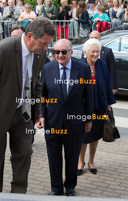 King Albert II of Belgium and Queen Paola of Belgium attend the first communion of twin princes Nicolas and Aymeric of Belgium, at the Sainte-Catherine church, in Bonlez, Belgium.<br /> 29 May 2014.