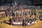 Participants from many ethnic groups dance during the finale of the opening ceremony in the Green Arena at the first ever International Indigenous Games, in the city of Palmas, Tocantins State, Brazil. Photo © Sue Cunningham, pictures@scphotographic.com 23rd October 2015
